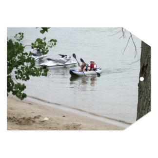 Invitación del fiesta del viaje de la canoa invitación 12,7 x 17,8 cm