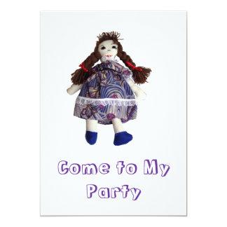 Invitación del fiesta - muñeca de trapo invitación 12,7 x 17,8 cm