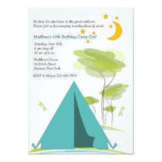 Invitación del fiesta que acampa invitación 12,7 x 17,8 cm