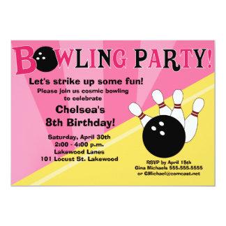 Invitación del fiesta que rueda - rosa y amarillo invitación 12,7 x 17,8 cm