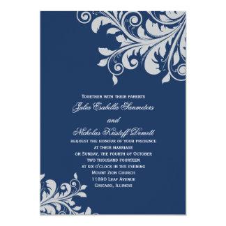 Invitación del Flourish - azul y plata
