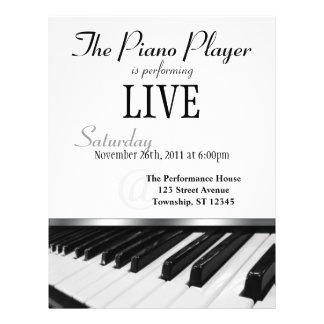 """Invitación del funcionamiento de llaves del piano  folleto 8.5"""" x 11"""""""