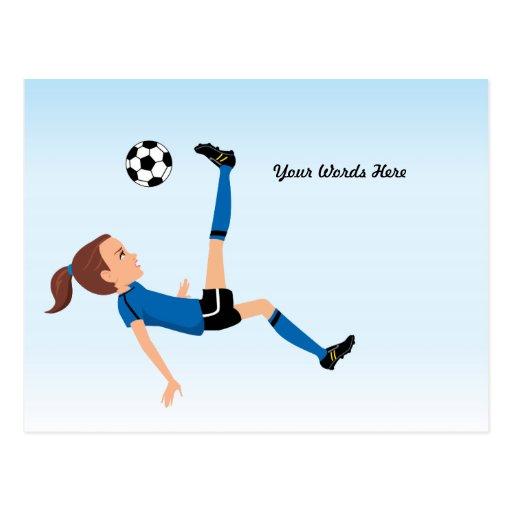 Invitación del fútbol del chica para una postal