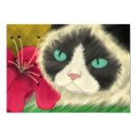 Invitación del gatito de la primavera invitación 12,7 x 17,8 cm