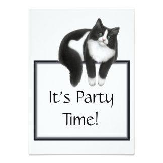 Invitación del gato del smoking del tiempo del