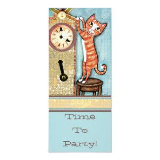 Invitación del gato del tiempo del fiesta - invitación 10,1 x 23,5 cm