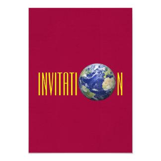 Invitación del globo de la tierra invitación 12,7 x 17,8 cm