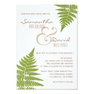 Invitación del helecho del boda del arbolado invitación 12,7 x 17,8 cm
