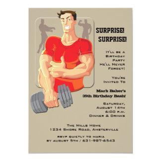 Invitación del hombre del músculo invitación 12,7 x 17,8 cm