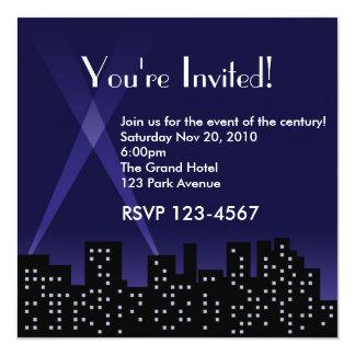 Invitación del horizonte de la ciudad invitación 13,3 cm x 13,3cm