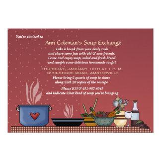 Invitación del intercambio de la sopa del invierno