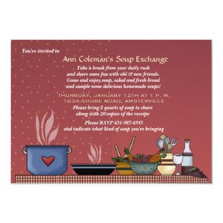 Invitación del intercambio de la sopa del invierno invitación 12,7 x 17,8 cm