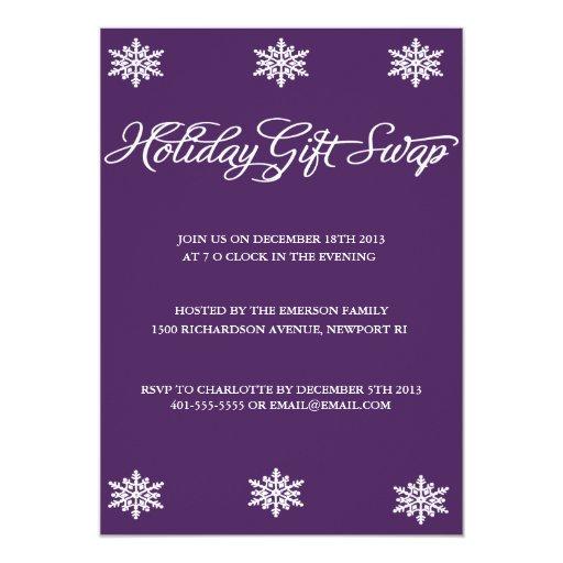 Invitación del intercambio del regalo de invitación 12,7 x 17,8 cm