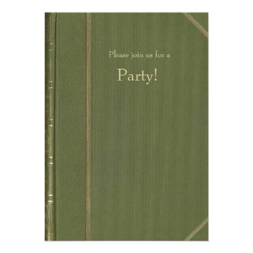 Invitación del Libro verde del vintage