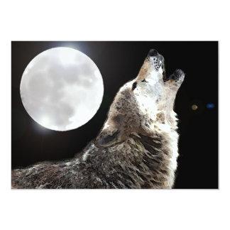 Invitación del lobo y de la luna invitación 12,7 x 17,8 cm