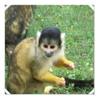 Invitación del mono de ardilla invitación 13,3 cm x 13,3cm