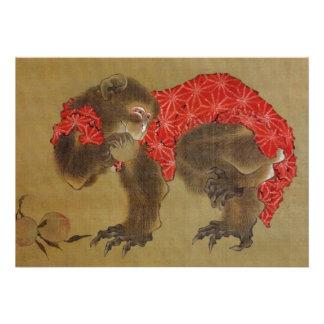 Invitación del mono de Hokusai