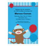 Invitación del mono del calcetín - azul