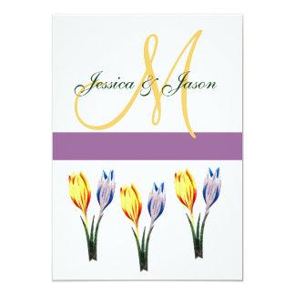 Invitación del monograma del boda del azafrán de