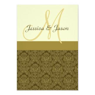 Invitación del monograma del boda del damasco de