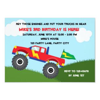 Invitación del monster truck - cumpleaños de los
