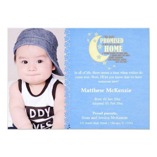 Invitación del muchacho de la adopción