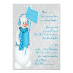 Invitación del muñeco de nieve (azul) -