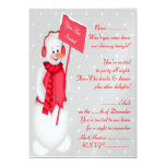 Invitación del muñeco de nieve (rojo) -