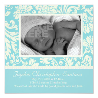 Invitación del nacimiento - azul cielo floral