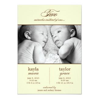 Invitación del nacimiento de dos gemelos de los