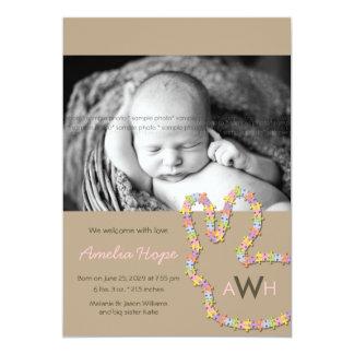 Invitación del nacimiento de la foto de la niña invitación 12,7 x 17,8 cm