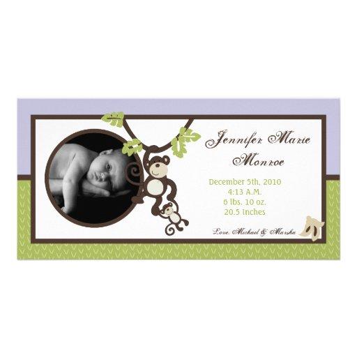 invitación del nacimiento de la foto de la selva plantilla para tarjeta de foto