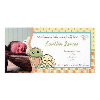 Invitación del nacimiento de la foto de Rex de los Tarjeta Fotográfica Personalizada
