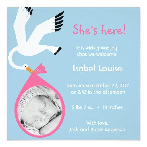 Invitación del nacimiento de la foto del bebé -