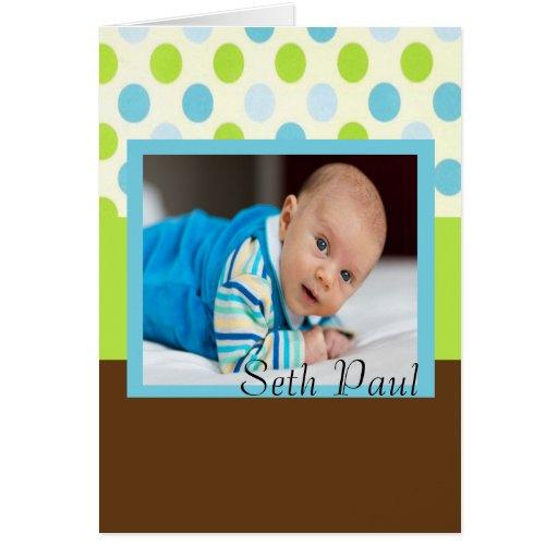 Invitación del nacimiento de la foto del bebé del  felicitación