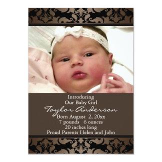 Invitación del nacimiento de la foto del damasco