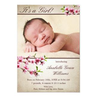 Invitación del nacimiento de la foto del moreno de