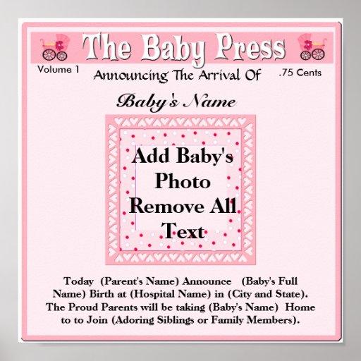 Invitación del nacimiento de la foto del recuerdo póster