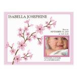 Invitación del nacimiento de la niña de la flor de tarjeta postal