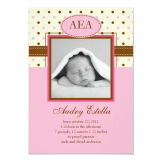 Invitación del nacimiento de la niña de la foto