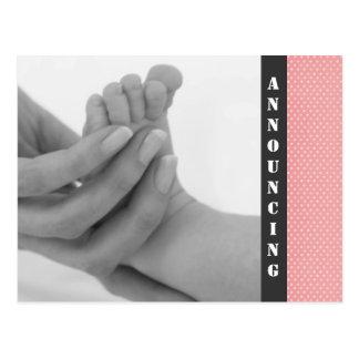 Invitación del nacimiento de la niña tarjetas postales