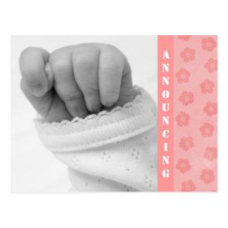 Invitación del nacimiento de la niña tarjeta postal