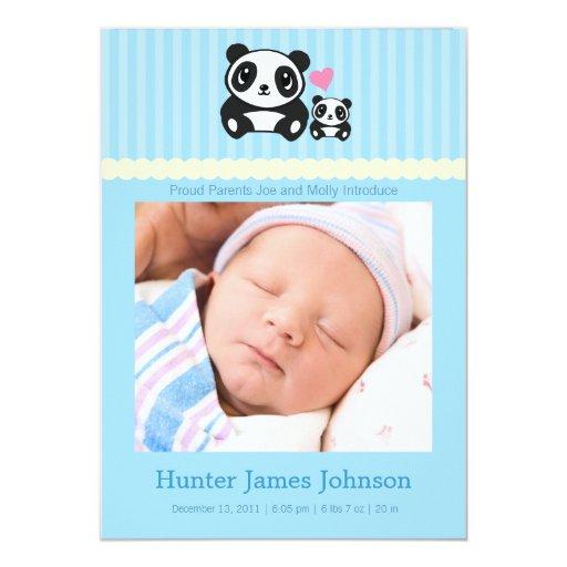 Invitación del nacimiento de la panda - azul
