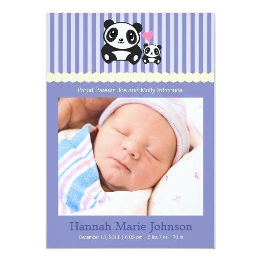 Invitación del nacimiento de la panda - púrpura
