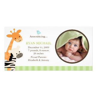 Invitación del nacimiento de los amigos del safari tarjeta fotográfica personalizada