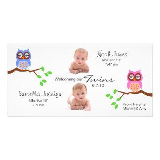 Invitación del nacimiento de los gemelos con los b tarjeta personal con foto
