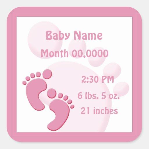 Invitación del nacimiento de los pies de la huella pegatinas cuadradases personalizadas