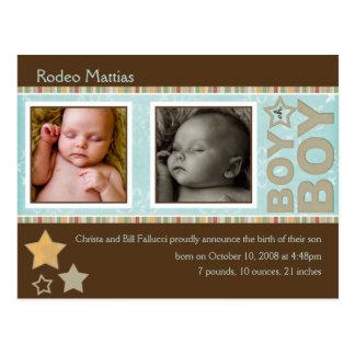 Invitación del nacimiento de Matías del rodeo Tarjeta Postal