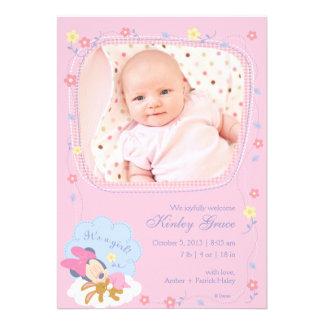 Invitación del nacimiento de Minnie Mouse del bebé