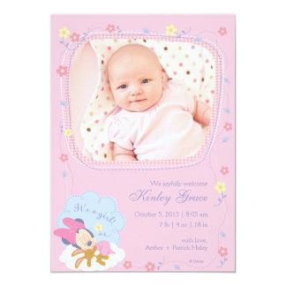 Invitación del nacimiento de Minnie Mouse del bebé Invitación 12,7 X 17,8 Cm
